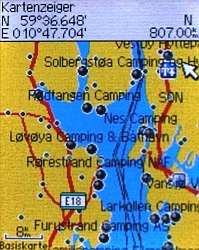 Garmin GPS Map with Campsites